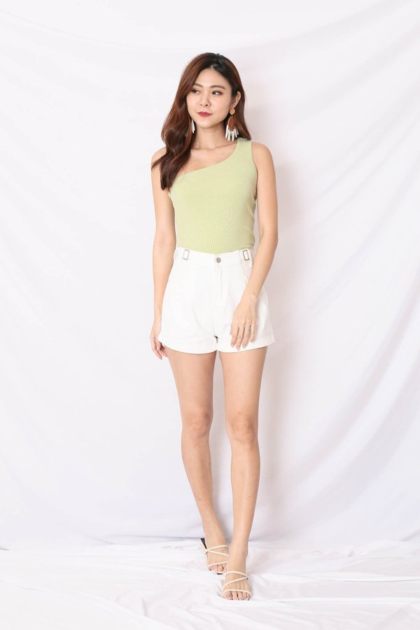 (PREMIUM) UMI RIBBED TOGA TOP IN APPLE GREEN