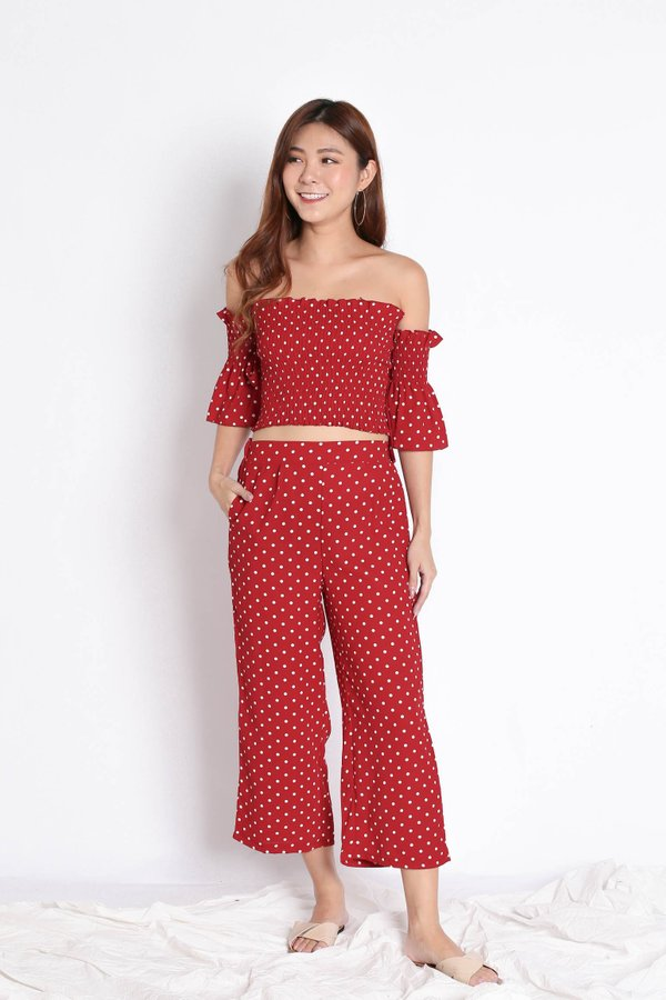 POLKA DOT TOP AND CULOTTES SET IN WINE