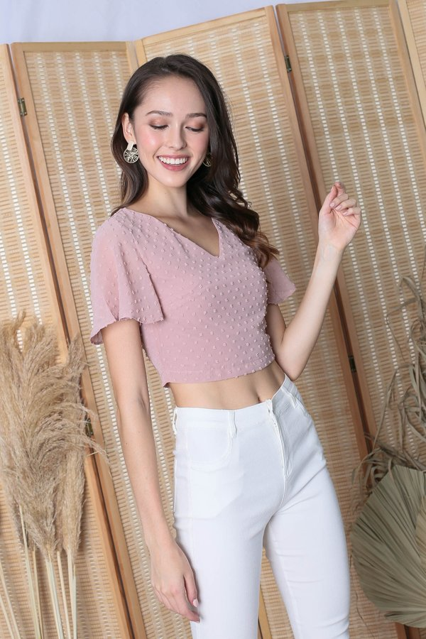 *TPZ* (PREMIUM) PEARLYNE SWISS DOT TOP IN DUSTY PINK