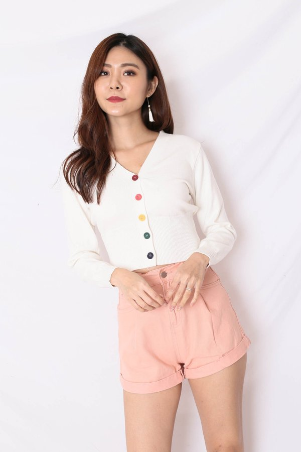 *BACKORDER* PARADE OF HAPPINESS CARDIGAN IN WHITE