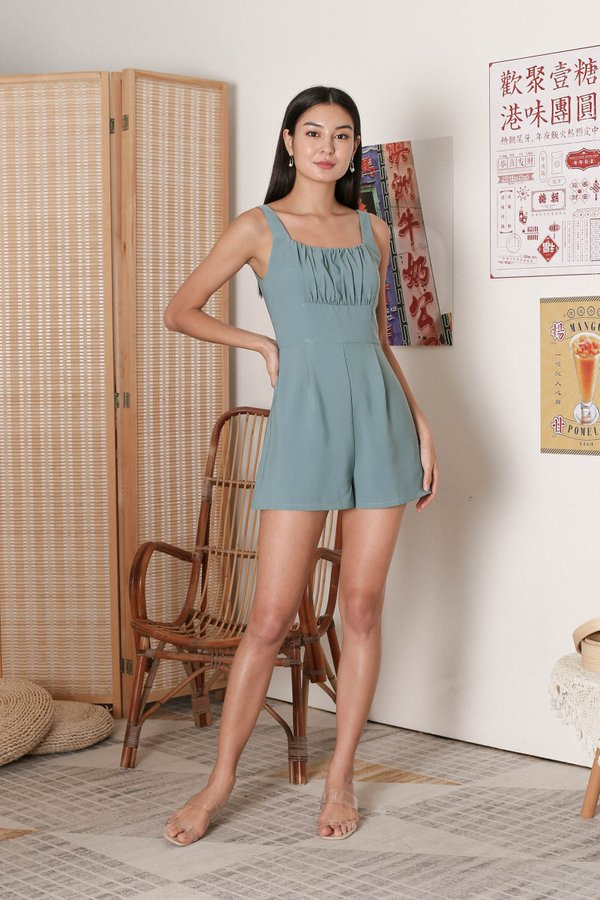*TPZ* EUGENIA RUCHED ROMPER IN DUSTY CYAN