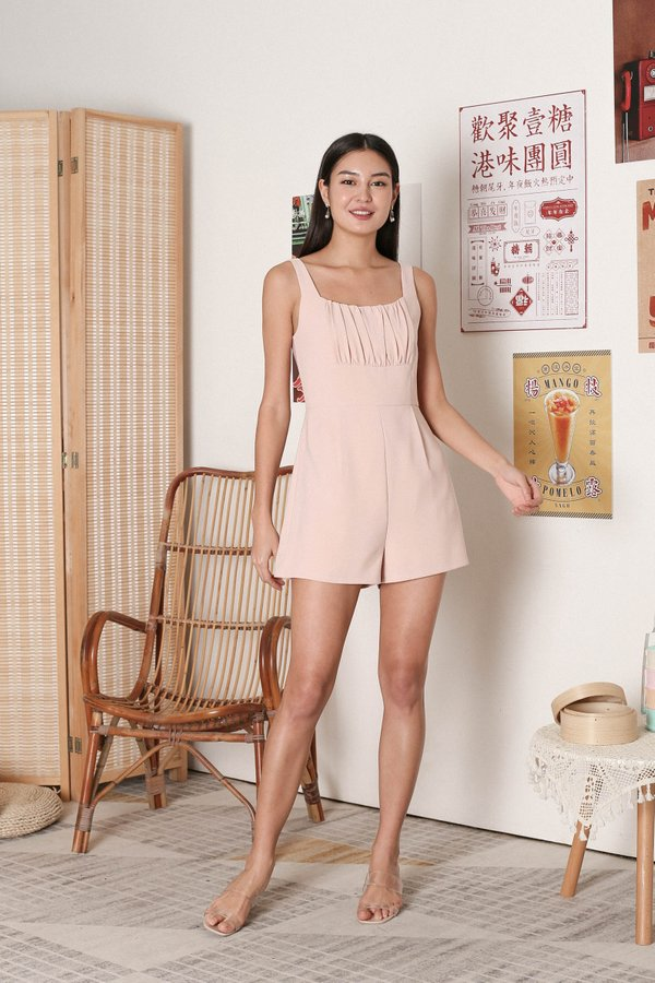 *TPZ* EUGENIA RUCHED ROMPER IN NUDE PINK