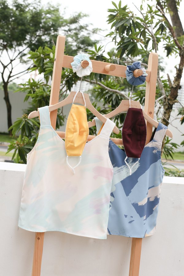 *TPZ* WATERCOLOUR ART 4 WAY TOP WITH SCRUNCHIE AND MASK (WHITE/SUNSHINE)