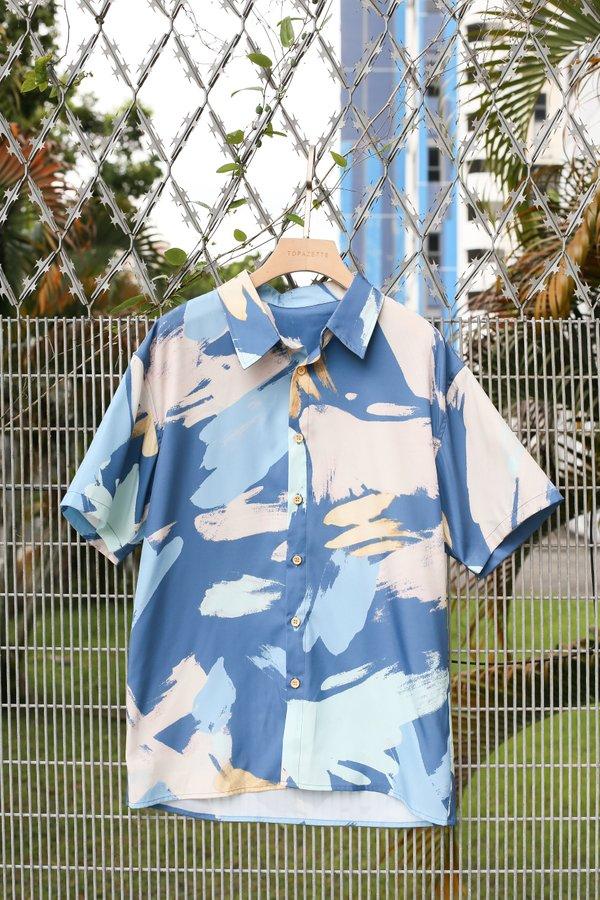 *TPZ* WATERCOLOUR ART UNISEX SHIRT WITH MASK (BLUE)