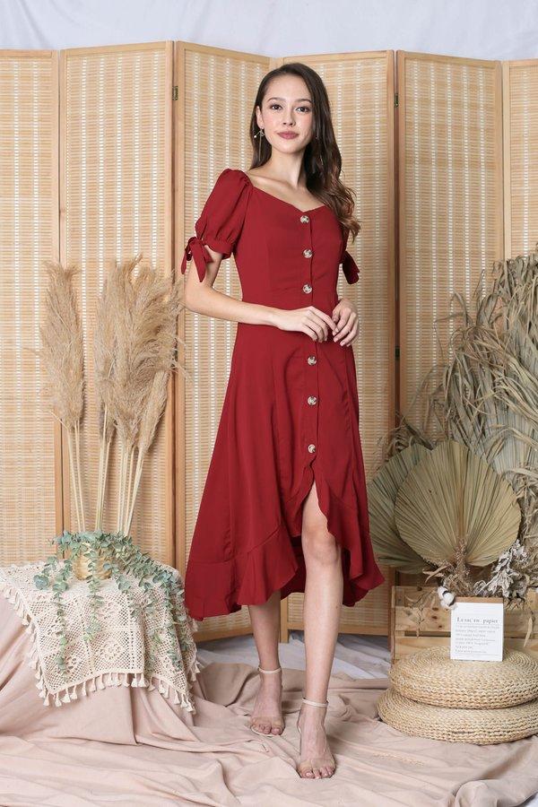 *TPZ* (PREMIUM) BRIELLA RIBBON DRESS IN WINE RED
