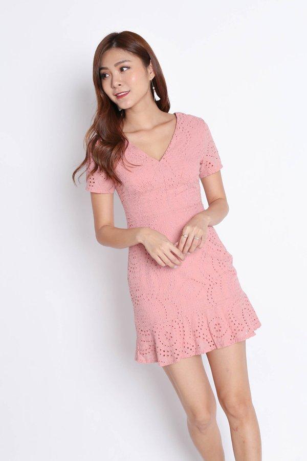 *TPZ* (PREMIUM) ALISYA EYELET DRESS IN BABY PINK