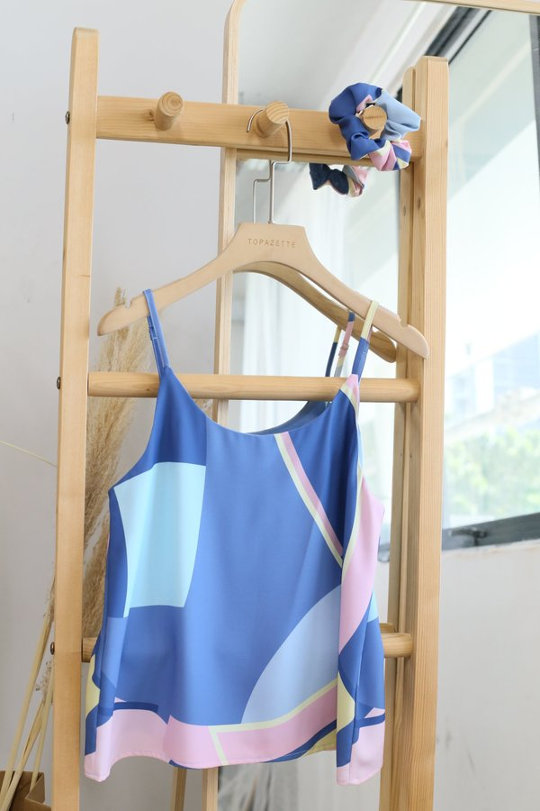 *TPZ* FREDA ABSTRACT PRINT TOP WITH SCRUNCHIE (BLUE PALETTE)