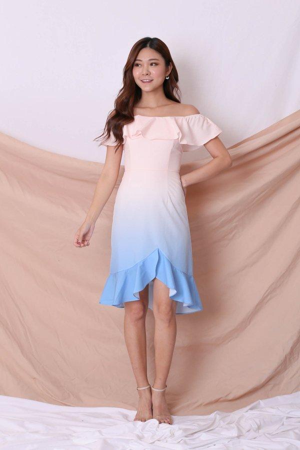 *TPZ* (PREMIUM) FRANCESCA 4 WAYS OMBRE DRESS (PASTEL PINK/ BLUE)