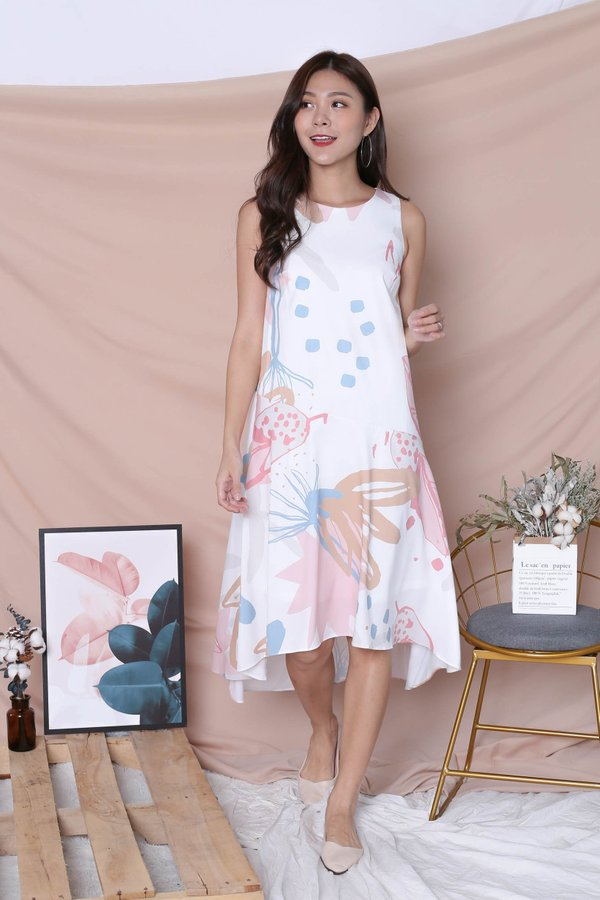 (PREMIUM) YAL FLORAL ABSTRACT ASYMMETRICAL DRESS IN PINK