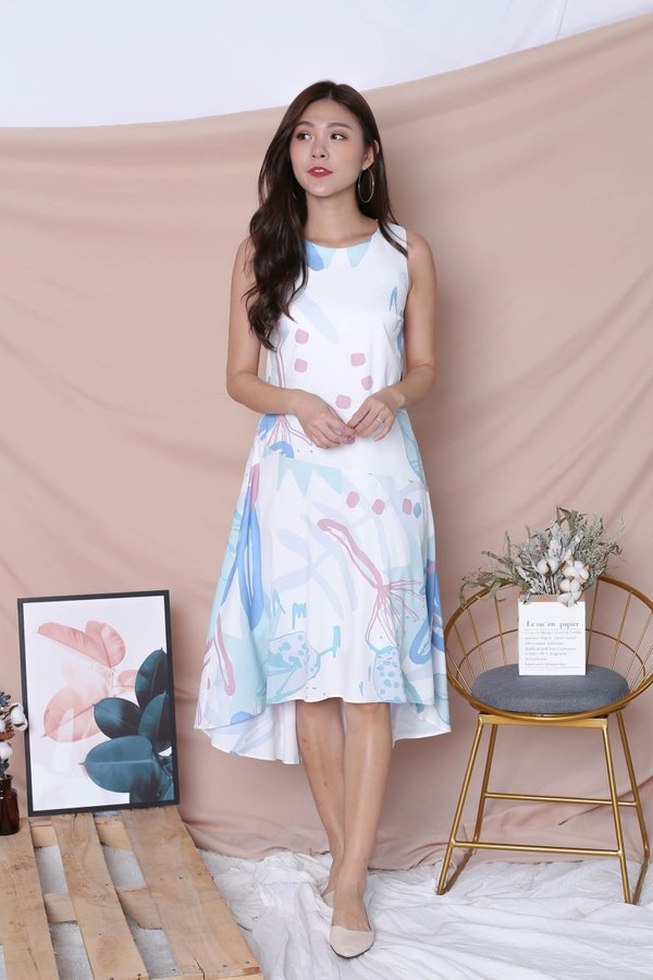 (PREMIUM) YAL FLORAL ABSTRACT ASYMMETRICAL DRESS IN BLUE