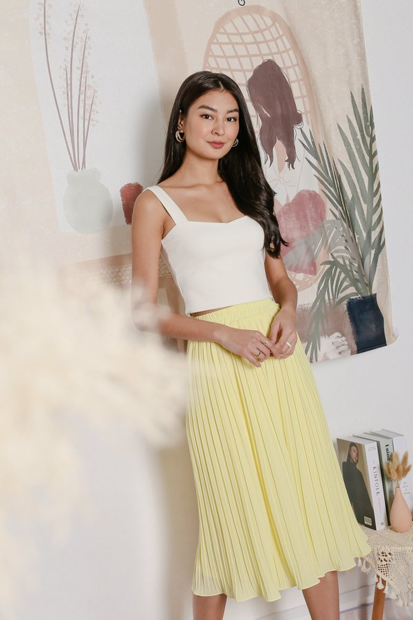 *TPZ* LEXI LEGENDARY PLEATED CULOTTES IN BUTTERMILK YELLOW
