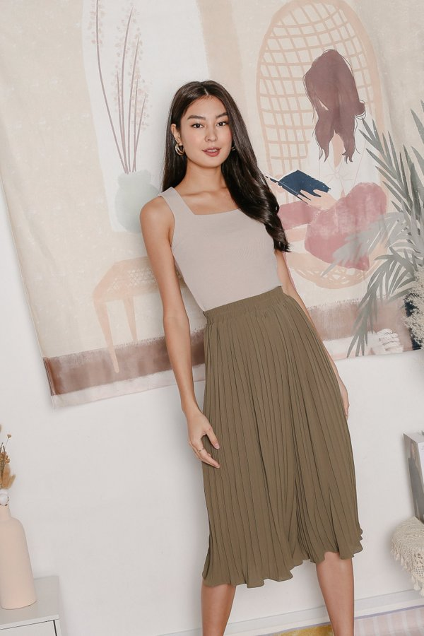 *TPZ* LEXI LEGENDARY PLEATED CULOTTES IN OLIVE