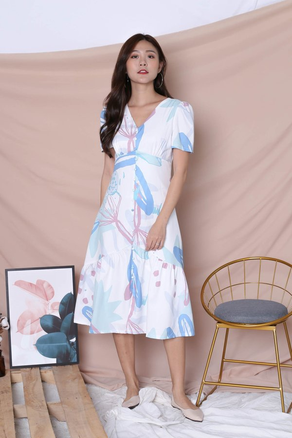 (PREMIUM) GIN FLORAL ABSTRACT SLEEVE BUTTON DRESS IN BLUE