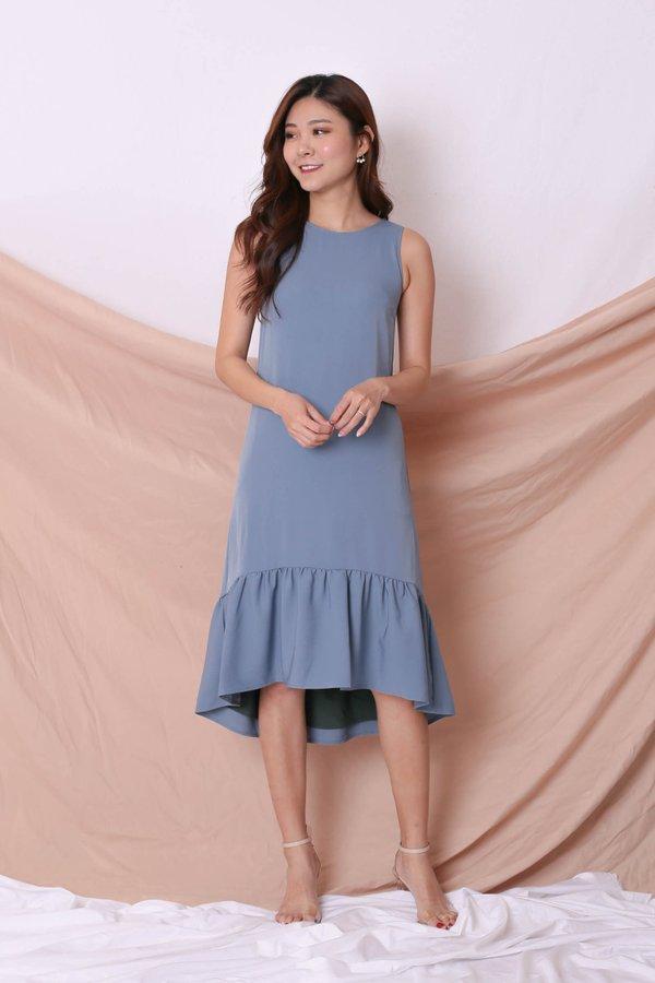 *TPZ* (PREMIUM) AMARIS REVERSIBLE ASYMMETRICAL DRESS (FOREST/ BLUE)