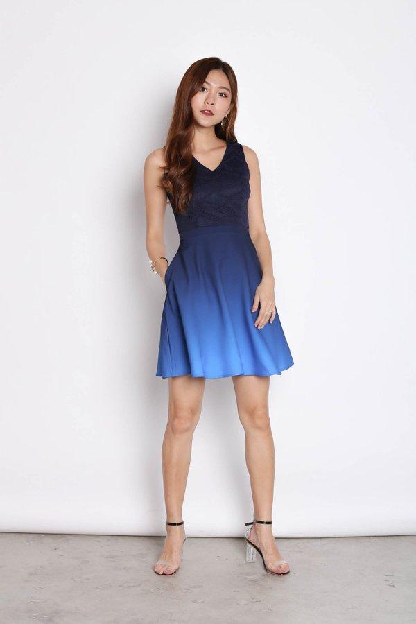 *TPZ* (PREMIUM) ATHENA LACE OMBRE SKATER DRESS (NAVY/ MIDNIGHT BLUE)
