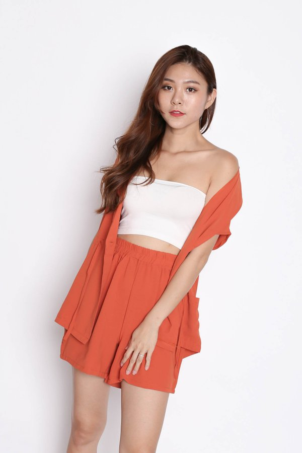 REV TRENCH TOP + SHORTS SET IN TERRACOTTA