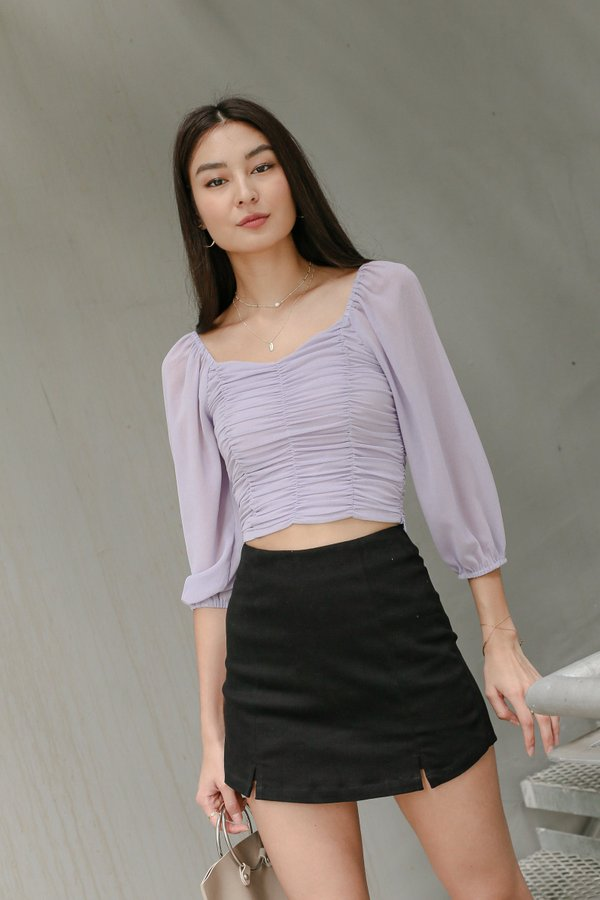 *TPZ* VASHY 4 WAYS RUCHED TOP IN FOG LILAC