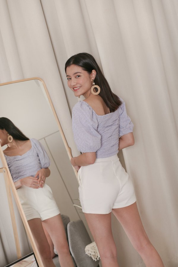 *TPZ* LIA EYELET EMBROIRDERY TOP IN LILAC GREY