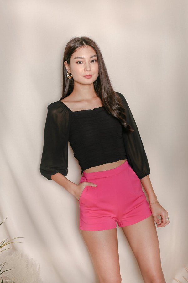 *TPZ* VASHY 4 WAYS RUCHED TOP IN BLACK