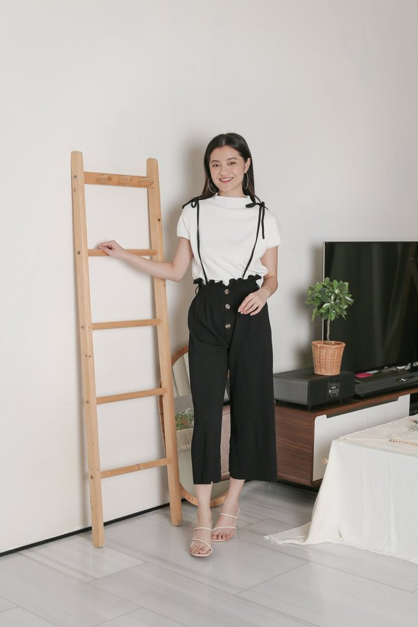 EVERLY PLEATED DUNGAREE JUMPSUIT IN BLACK