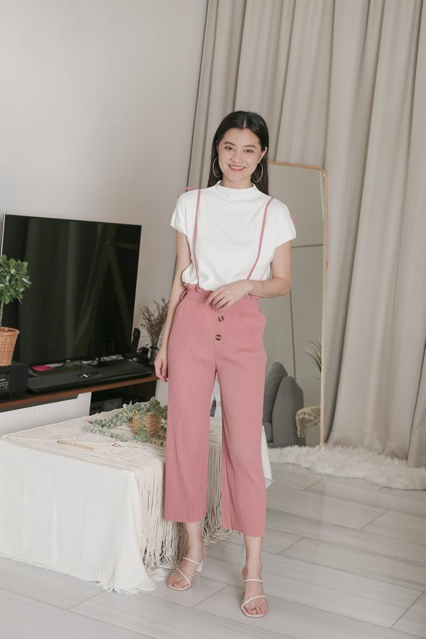 EVERLY PLEATED DUNGAREE JUMPSUIT IN PINK