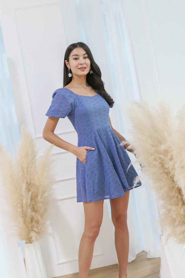 *TPZ* (PREMIUM) ELAYNA EYELET SWEETHEART DRESS IN CORNFLOWER BLUE