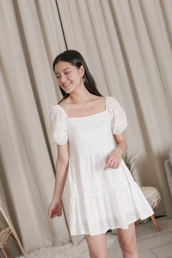 *TPZ* HEARTS EYELET BABYDOLL DRESS ROMPER IN WHITE