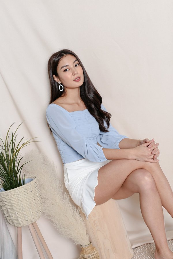 *TPZ* VASHY 4 WAYS RUCHED TOP IN BABY BLUE