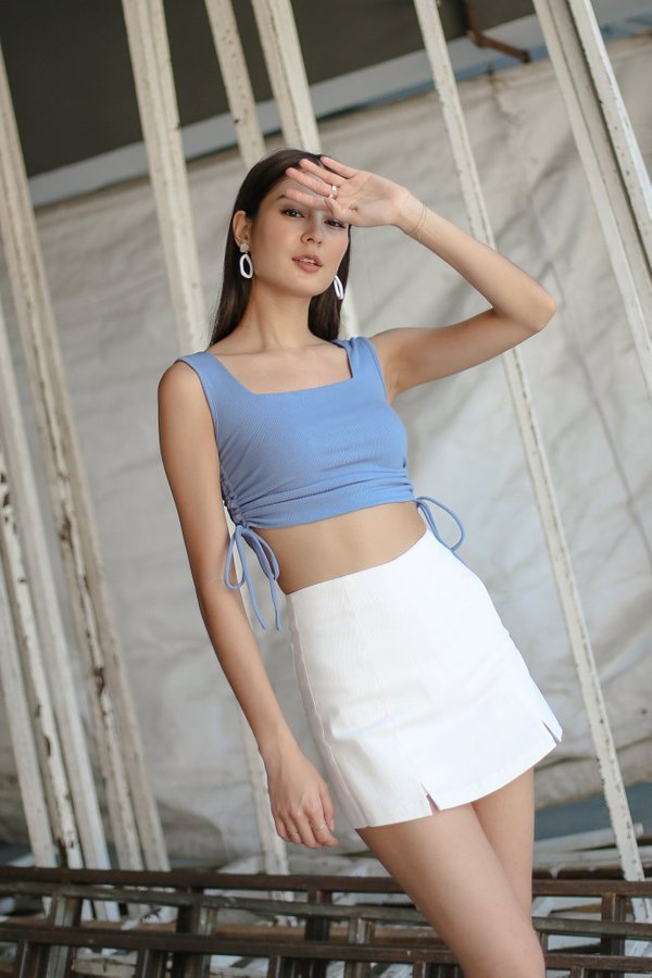 *TPZ* NEXT LEVEL BASIC TOP IN STALE BLUE *WITH SCRUNCHIE*