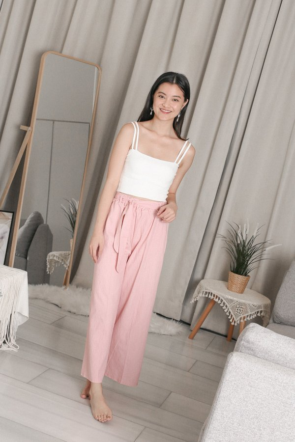 YEVON TEXTURED PANTS IN BABY PINK