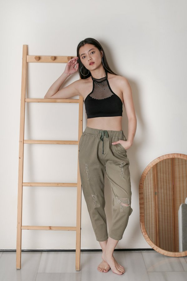 REEVE RIPPED PANTS IN OLIVE