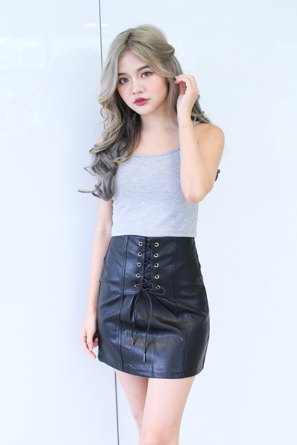 BRITT LACED UP LEATHER SKIRT IN BLACK