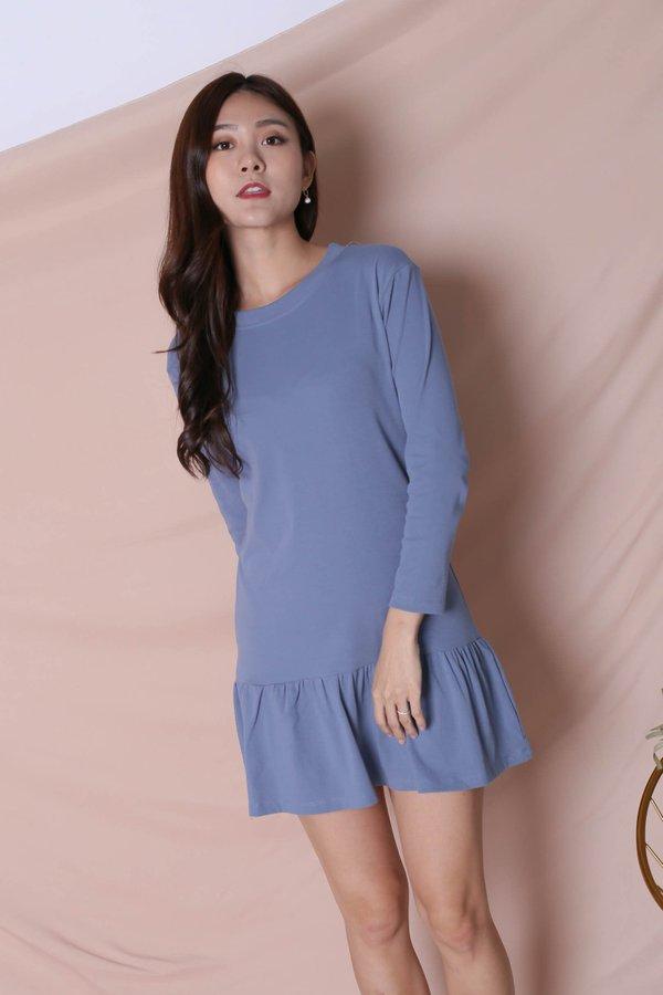 BASIC COTTON DROP WAIST DRESS (LONG SLEEVES) IN CORNFLOWER BLUE