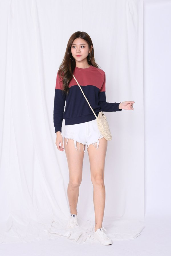 PASTEL PULLOVER (BERRY/ NAVY)