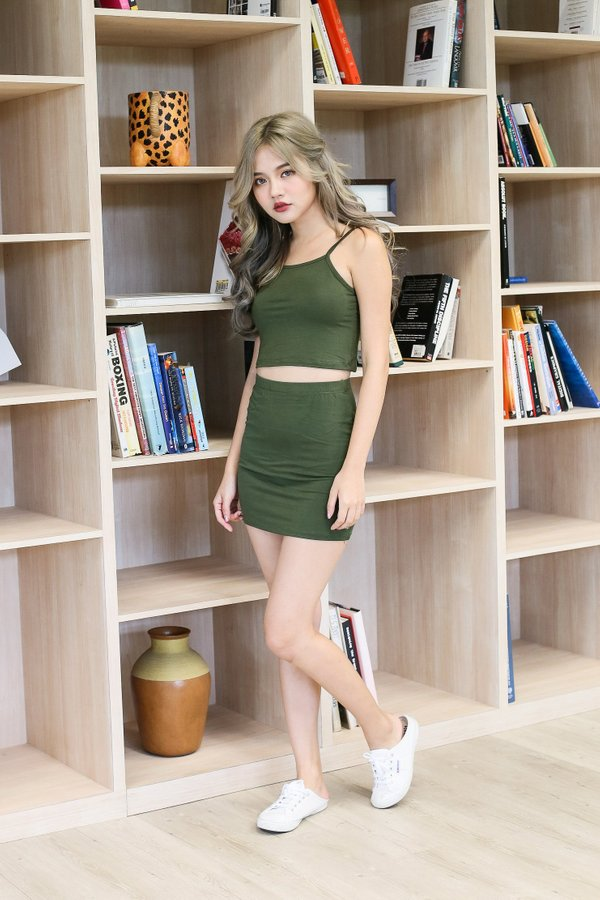 ZYRA OFF DUTY 2 PC SET IN OLIVE