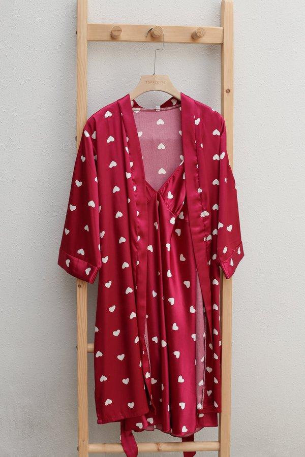 HEARTS SLEEP CAMISOLE DRESS + KIMONO ROBE SET IN CHERRY PINK