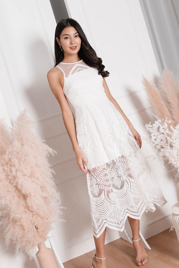 *TPZ* (PREMIUM) QUINNA ORGANZA MESH DRESS IN WHITE