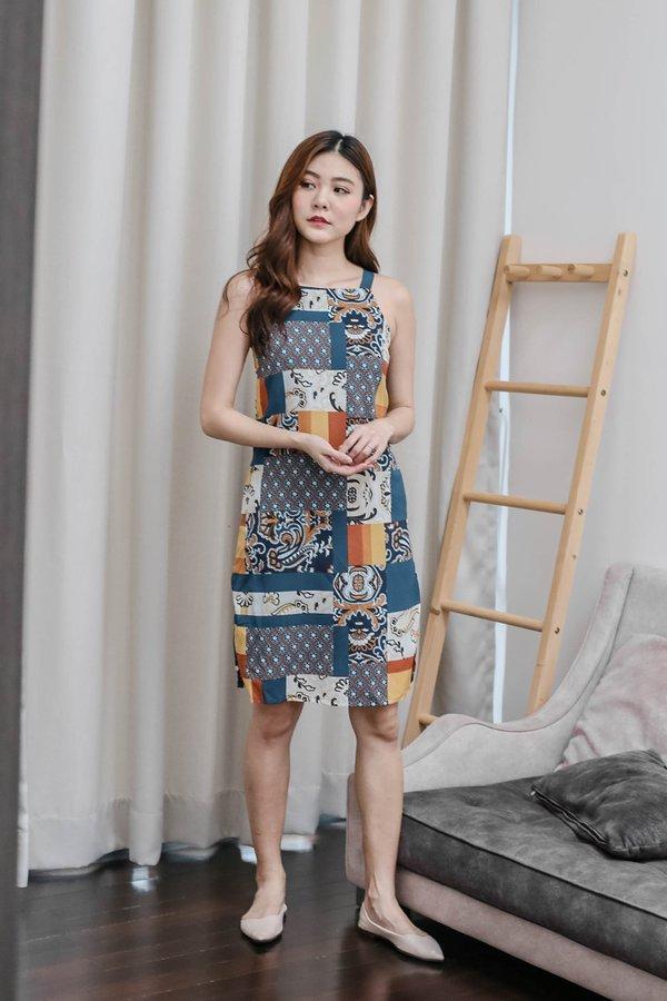 *TPZ* (PREMIUM) SAIGE BOHO PATCHWORK DRESS (BLUE)