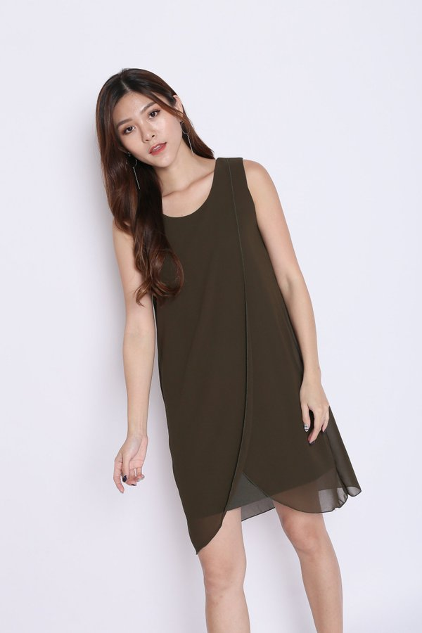 HEATHER OVERLAP DRESS IN OLIVE