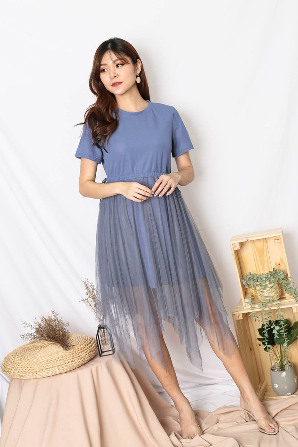 BRYLEIGH TULLE DRESS IN BLUE