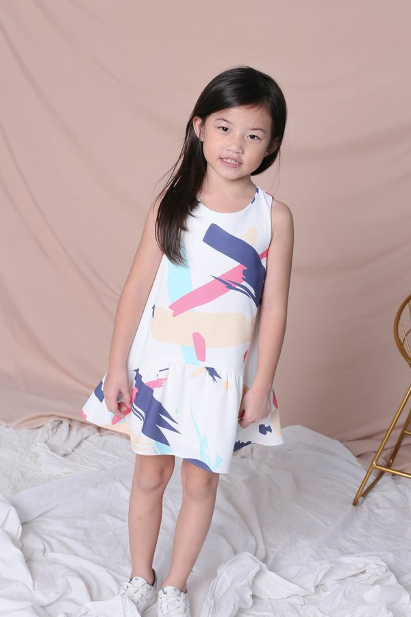 *LITTLE TOPAZETTE* ABSTRACT BRUSH STROKES TRAPEZE DRESS IN PINK