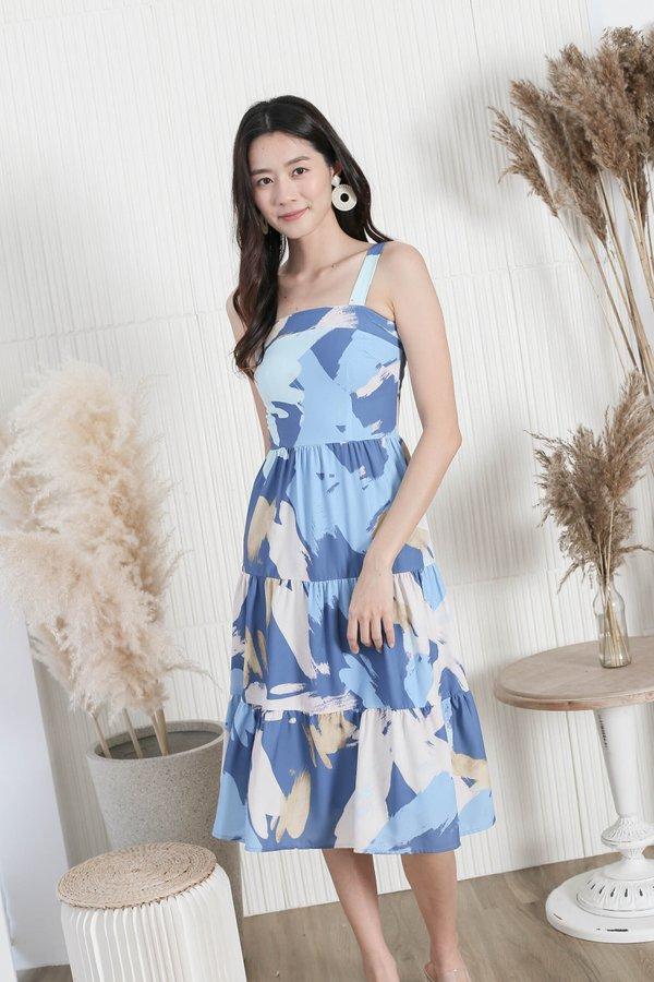 *TPZ* (PREMIUM) THE WATERCOLOUR ART TIER DRESS IN BLUE