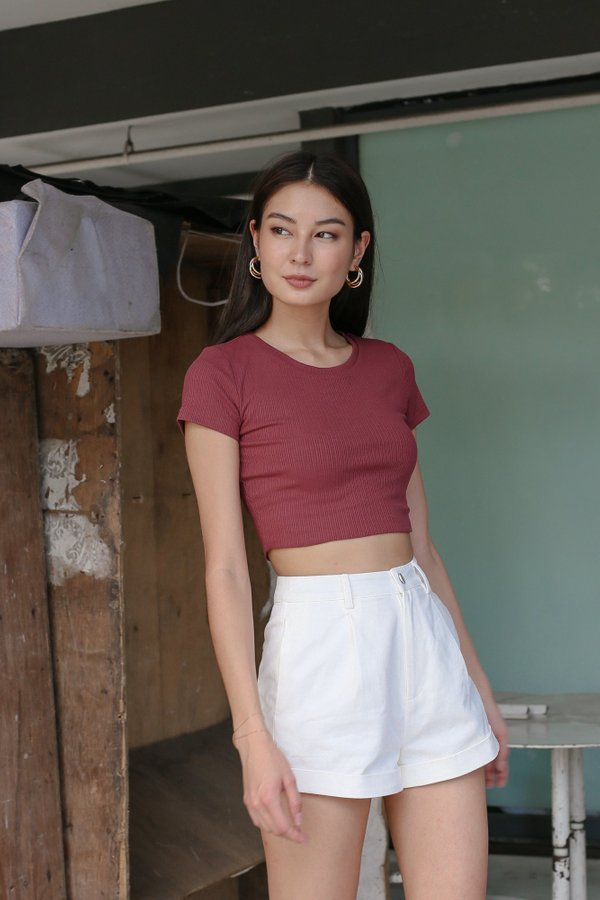 *TPZ* ESSENTIAL CREW NECK BASIC TOP IN ROSEWOOD