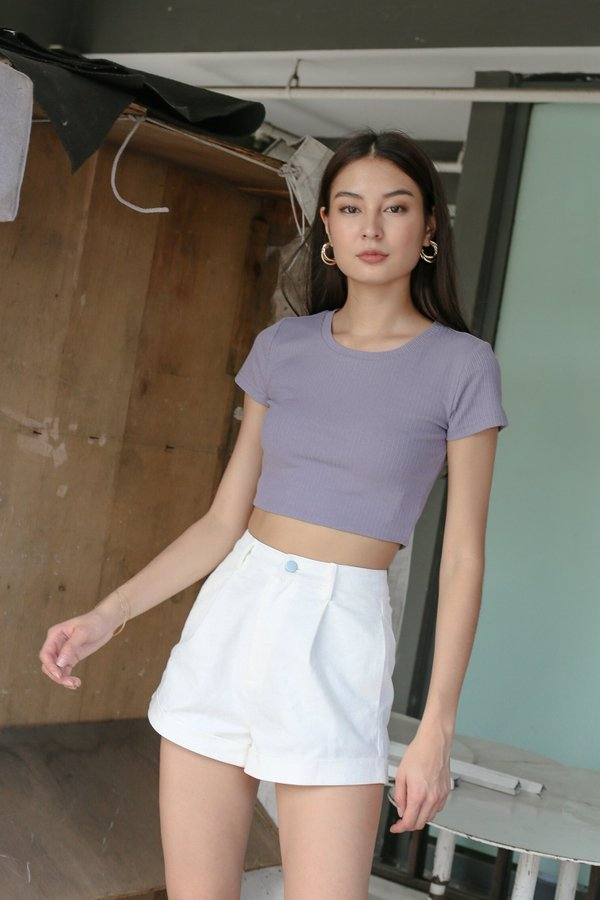 *TPZ* ESSENTIAL CREW NECK BASIC TOP IN LILAC GREY