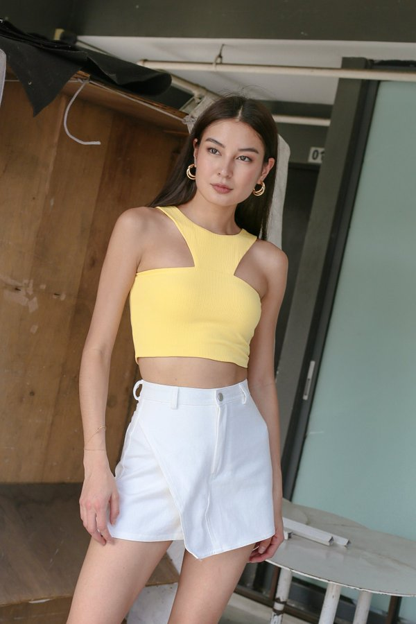 *TPZ* BACK STREET 2 WAYS RIBBED TOP IN BUTTERCUP YELLOW