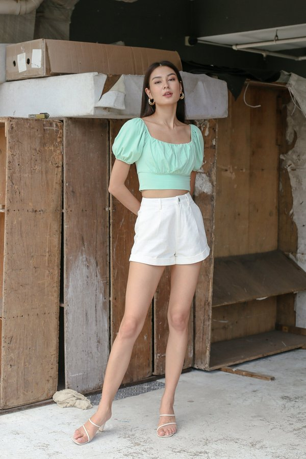 *TPZ* WISELLE RUCHED BASIC TOP IN MINT