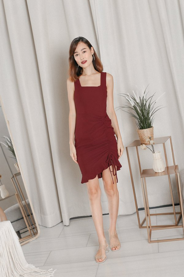 *TPZ* ZOLA RUCHED DRESS IN BURGUNDY