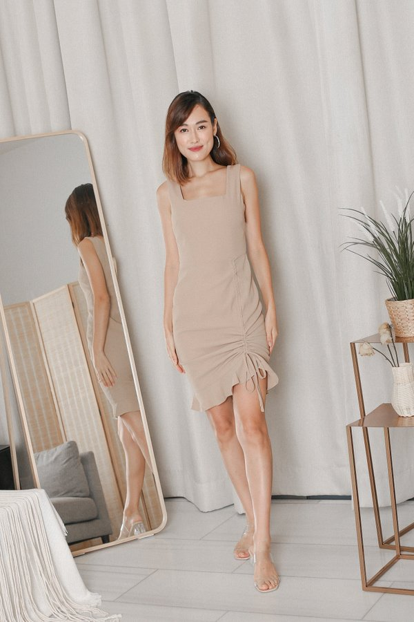 *TPZ* ZOLA RUCHED DRESS IN SAND