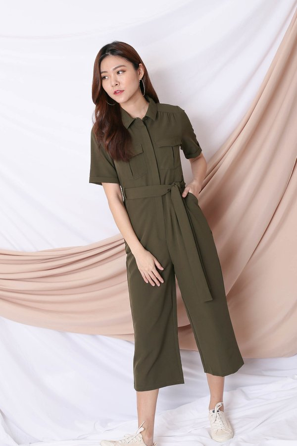 *TPZ* (PREMIUM) BAILEY UTILITY JUMPSUIT IN ARMY GREEN