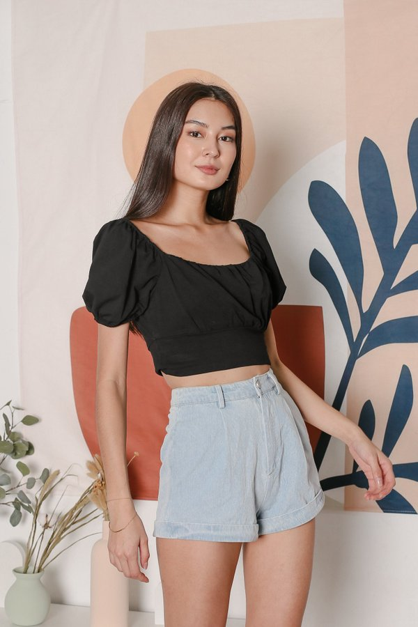*TPZ* WISELLE RUCHED BASIC TOP IN BLACK